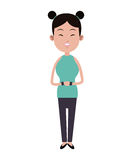 Beauty asian woman smile two hair bun and bracelets Stock Photo
