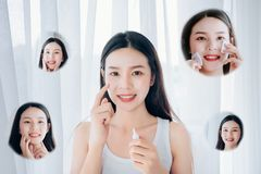 Beauty Asian woman use acne gel skincare after cleansing stock photos