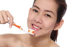 Beauty asian women cleaning her face Stock Photos
