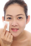 Beauty asian women cleaning her face Stock Images
