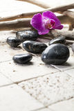 Beauty atmosphere with zen pebbles and orchid Stock Photos