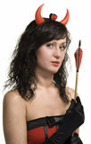 Beauty attractive red devil girl with arrow Stock Images
