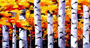 Beauty of Autumn Forest - Acrylic on canvas painting Stock Images