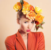 Beauty autumn portrait of blonde girl Stock Photos