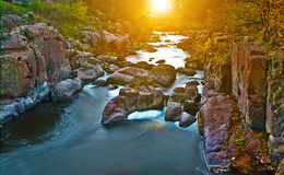 Beauty autumnal day on the mountain river Stock Photography