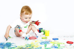 Beauty baby with paint on white Royalty Free Stock Photo