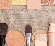 Beauty background with foundation makeup products Royalty Free Stock Image