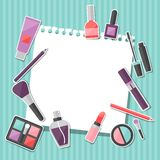 Beauty background with icons cosmetics Stock Images