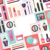 Beauty background with icons cosmetics Royalty Free Stock Photo