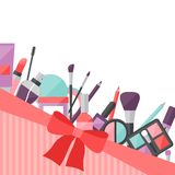 Beauty background with icons cosmetics Royalty Free Stock Photos