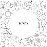 Beauty background from line icon. Linear vector pattern stock illustration