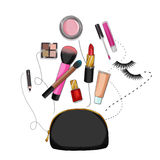 Beauty bag with make up and cosmetics Stock Photography