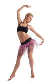 Beauty ballet young woman posing in dance costume. Cute beauty young woman posing in sport costume isolated Royalty Free Stock Photos