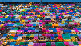Beauty of Bangkok aerial view free market Royalty Free Stock Images