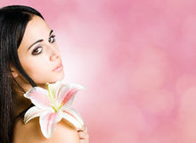 Beauty banner with gorgeous young brunette. Royalty Free Stock Photography