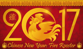 Beauty Banner with a Rooster for Chinese New Year, Vector Illustration stock image
