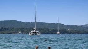 The beauty of the bay, sea, yacht. Of the `Bay of Kotor` `Boka Kotorska`, Montenegro stock video