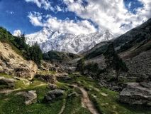 Beauty of Bayal Camp NANGA PARBAT VIEW. This picture is captured from Bayal camp, which is few hours tracks away from Nanga Parbat base camp, it is completely royalty free stock images