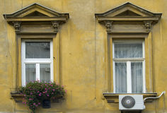 Beauty and the beast. Two windows with contrast of flowers and air conditioner Royalty Free Stock Photos