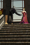 Beauty and the beast. Based on the fairytale a couple standing at the top of a marble staircase in period clothing she is beautiful and he is an ape Royalty Free Stock Image