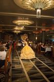 Beauty and the beast dancing. In Lumiere on the Disney Magic Royalty Free Stock Images