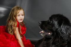 Beauty and the Beast. Girl with big black water-dog. Stock Image