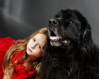Beauty and the Beast. Girl with big black water-dog. Royalty Free Stock Photos