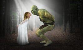 Free Beauty, Beast, Kissing Ogre, Fantasy, Girl Stock Photography - 166694112