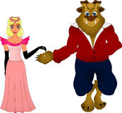 Beauty and the Beast. Beauty in a pink dress is next to the monster Royalty Free Stock Photo