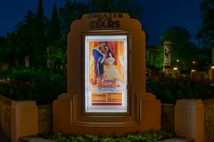 Beauty and the Beast Show times sign in Hollywood Studios at Walt Disney World. Orlando, Florida, March 27, 2019. Beauty and the Beast Show times sign in stock photos