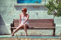 Beauty on bench Stock Photos
