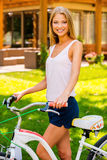 Beauty with bike. Royalty Free Stock Images