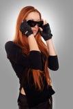 Beauty biker girl Stock Images