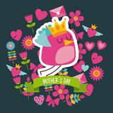 Beauty bird with crown mothers day floral heart background. Icon vector ilustration Stock Photo
