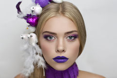 Beauty birds on hair Stock Image