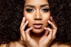 Free Beauty Black Skin Woman African Ethnic Female Face. Young African American Model With Long Afro Hair. Lux Model Royalty Free Stock Images - 163819549