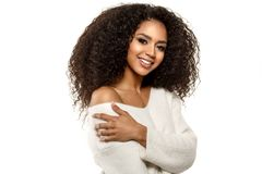 Free Beauty Black Skin Woman African Ethnic Female Face. Young African American Model With Long Afro Hair.Smiling Model Isolated On Stock Photos - 163819623