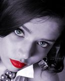 Beauty in Black and White. Beautiful Woman in Black and White with Red Lips Stock Image