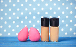 Beauty blender. On blue background Royalty Free Stock Photo