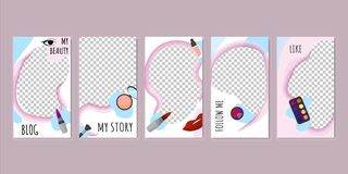 Beauty Blog Templates with Cosmetic Products. royalty free illustration