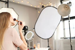 Beauty blogger. Make-up. Beauty blogger at work stock photos