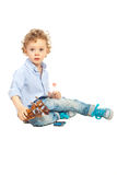 Beauty blond boy playing Stock Photo