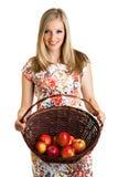 Beauty blond girl with apple Stock Photos