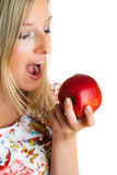Beauty blond girl with apple Stock Photo