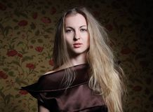 Beauty blond girl in brown dress Royalty Free Stock Photos