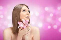 Beauty Blond Holding Pink Flower Royalty Free Stock Image