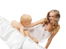 Beauty blond mother look on son Stock Images