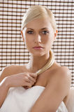 Beauty blond with white towel Royalty Free Stock Images
