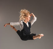 Beauty blond woman in ballet jump Stock Photo