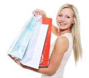 Beauty blond woman present purchases Stock Image
